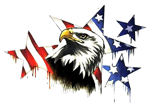 Amazon.com: USA American Flag Patriotic Eagle & Stars Temporary ...