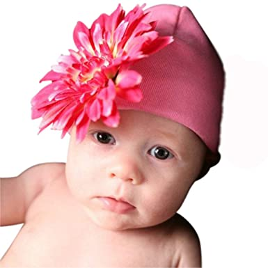 Image Unavailable. Image not available for. Color  Melondipity Girls Pink  Gerber Daisy Baby Hat - Soft Beanie ... 182512680b7e