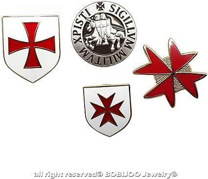 BOBIJOO Jewelry - Mucho Juego de 4 Pin s-Orden de Malta a los Caballeros Templarios Sello de la Cruz Estampado Rojo: Amazon.es: Equipaje