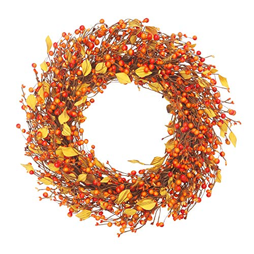 VGIA 22 inch Artificial Fall Wreath Berry Wreath Fall Maple Leaf Wreath for Front Door Fall Decorations