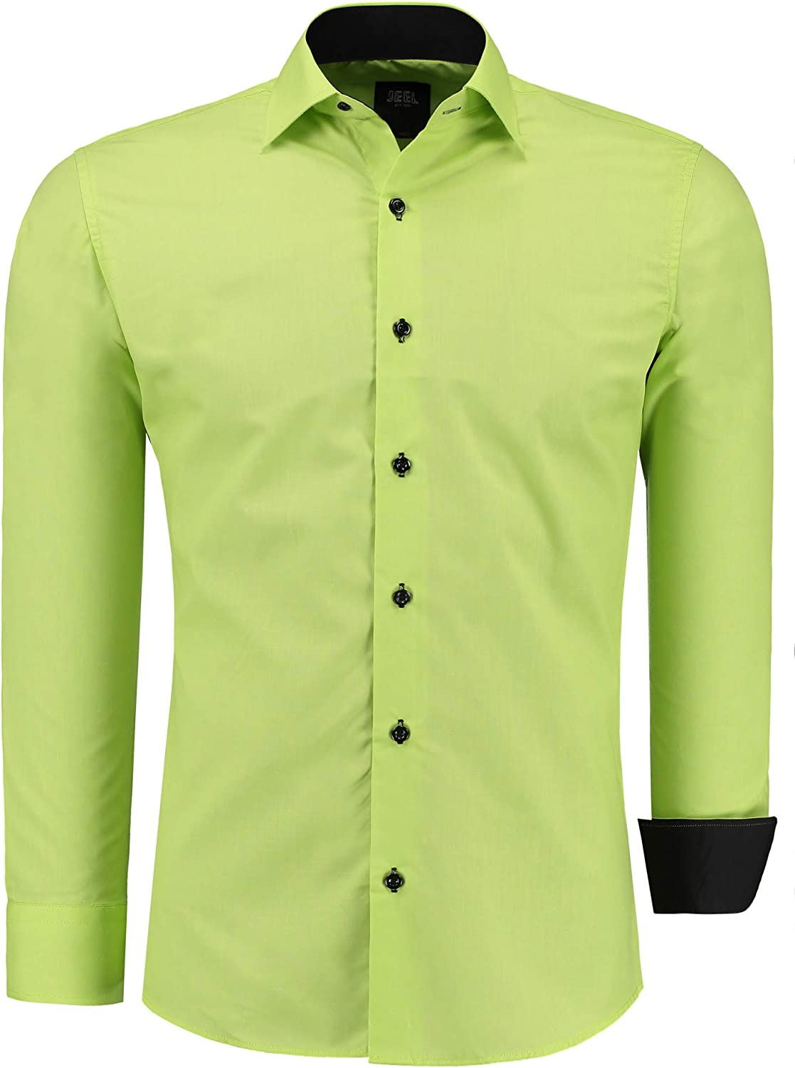 6XL Casual Shirt Slim-Fit Size S Jeel Men Long-Sleve for Business Suit Wedding Casual