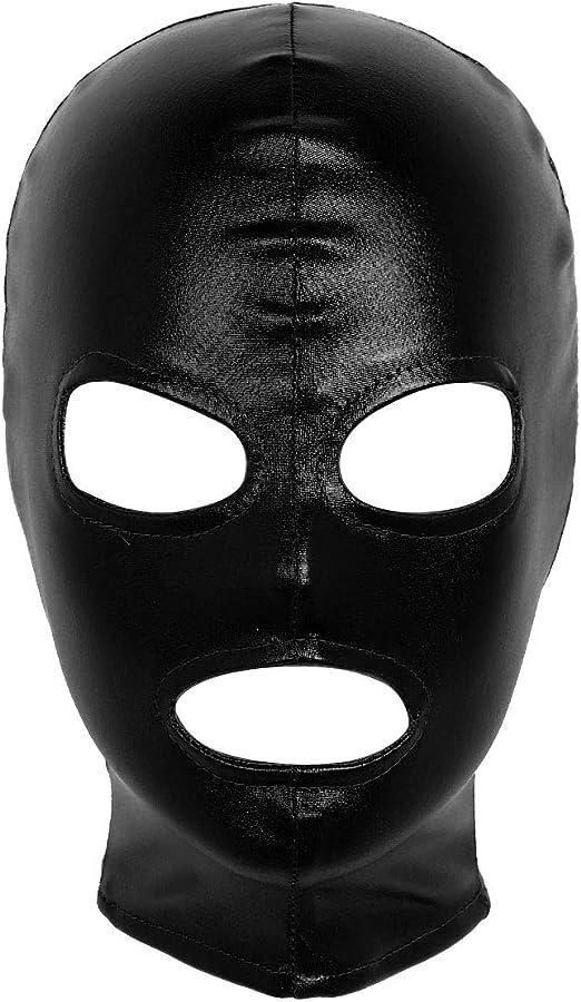 Lycra Spandex zentai costume Shiny Metallic Black Mask//hood
