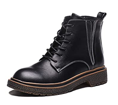 Shiney Women s Martin Boots Female 2018 New Ankle Boots Retro British  College Wind Chunky Heel Flat 25f242705541
