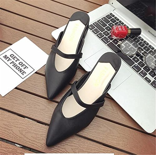 pit4tk Pointed Half Flats Toe Slides Flat Slippers Mules Women Summer Sandals Female Black Shoes Fashion arwaq1