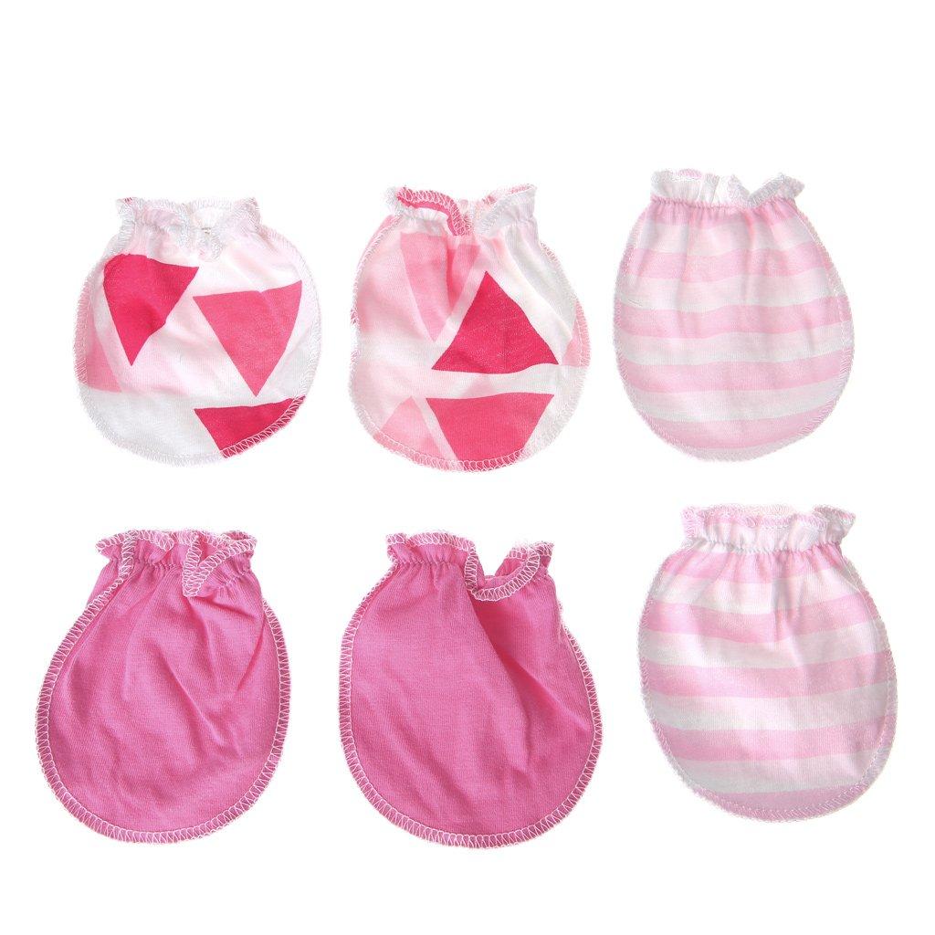 Baumwolle Baby Anti-Kratzhandschuhe f/ür Neugeborene 3 Paar dunkelblau Multisize