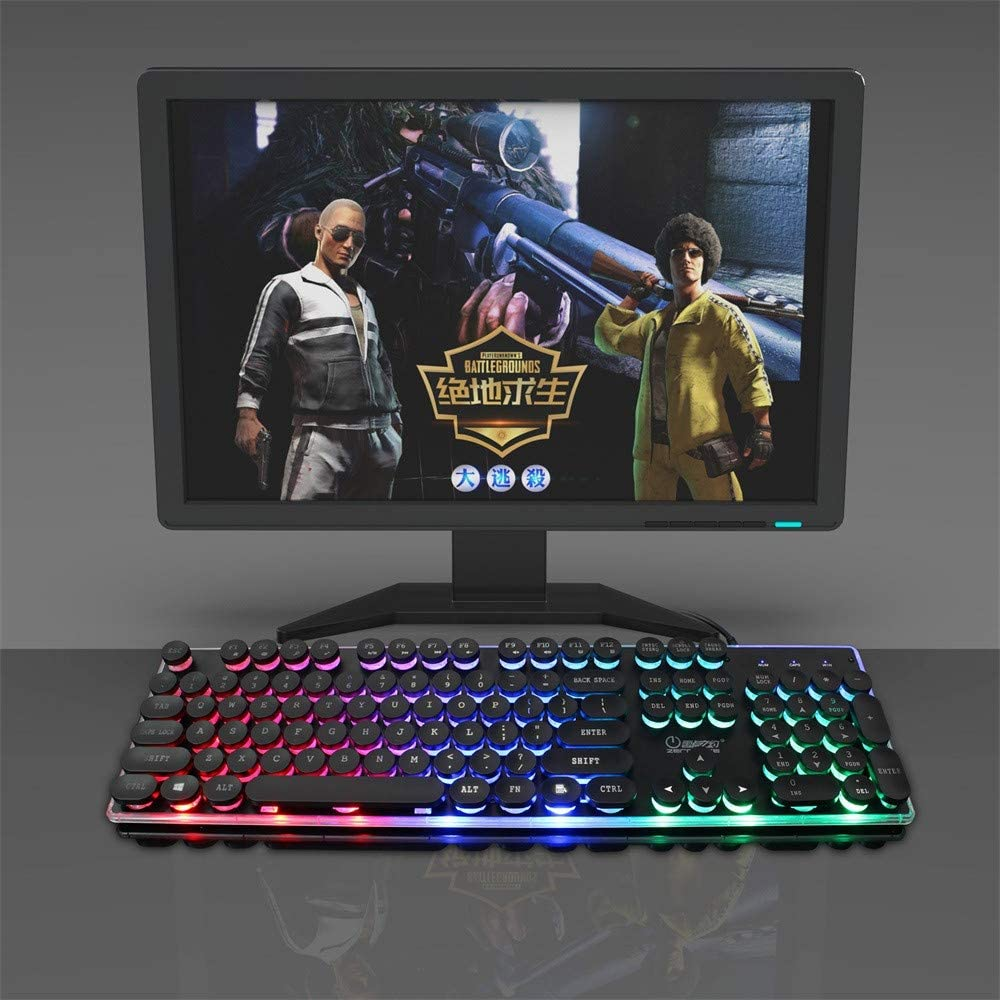 Rainbow Backlit RGB 104 Keys USB Gaming Keyboard Multimedia Illuminated Color LED USB Wired for PC and Laptops