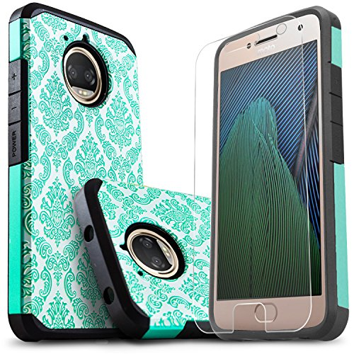Moto E4 Plus Case, Starshop [Shock Absorption] Dual Layers Impact Advanced Protective Cover with [Premium HD Screen Protector Included] for Motorola Moto E4 Plus (Teal Lace)