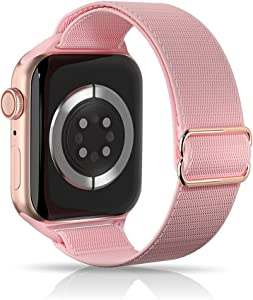 ARCEED Adjustable Stretchy Bands Compatible with Apple Watch Band 38mm 40mm 42mm 44mm,Women Men Elastic Sport Solo Loop Nylon Wristbands for iWatch Series SE/6/5/4/3/2/1(Pink Sand,38/40mm)