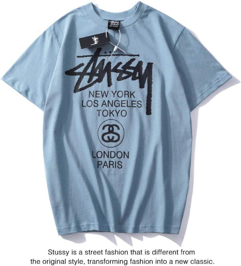 WHTIAN Camiseta Stussy para Hombres Y Mujeres De Primavera Y Verano, Manga Corta Casual Clásica De Hip-Hop, Camisa De Béisbol, Negra, L: Amazon.es: Deportes y aire libre