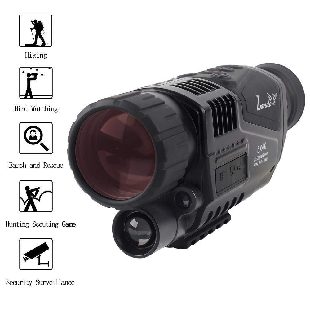 LANDOVE 5x40mm Digital Night Vision Monocular-Portable Infrared IR Camera 1.5 inch TFT LCD Recording Image Video Playback Function Night Watching Hunting Observing Wildlife Security Surveillance by LANDOVE