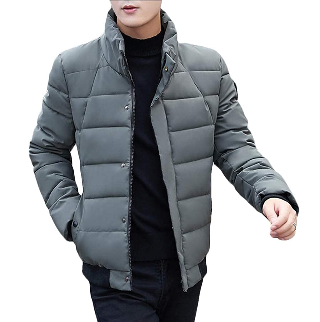 WSPLYSPJY Mens Packable Stand Collar Puffer Jacket Lightweight Quilted Jacket Coat