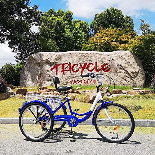 Happybuy Tricycle Adulte de 24 pouces Série 7 Vélo 3 Roues Tricycle Adulte Trike Cruise Bike Grand ...