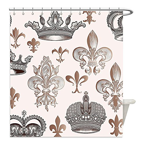 Fame Costumes Ideas (Liguo88 Custom Waterproof Bathroom Shower Curtain Polyester Fleur De Lis Decor Collection Crowns And Fleur De Lis In Engraved Style Luxurious Fame Symbolic Artwork Decorative bathroom)