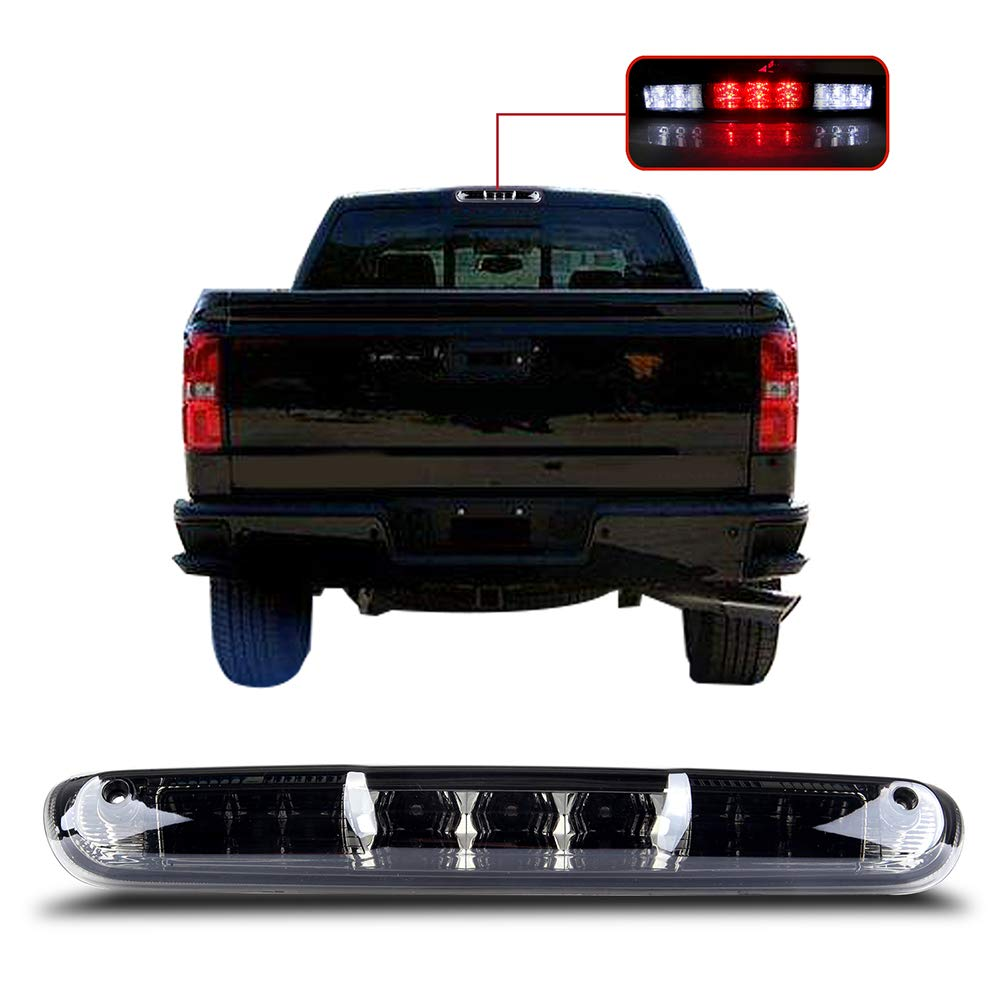 2007-2013 Chevy Silverado/GMC Sierra High Mount Brake Light Smoke Lens LED Light LED 3rd Brake Light Cargo Light SCITOO
