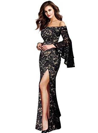 096ebbd8b49 VFSHOW Womens Black and Beige Lace Off Shoulder Ruffle Bell Sleeve Formal  Evening Wedding Maxi Dress