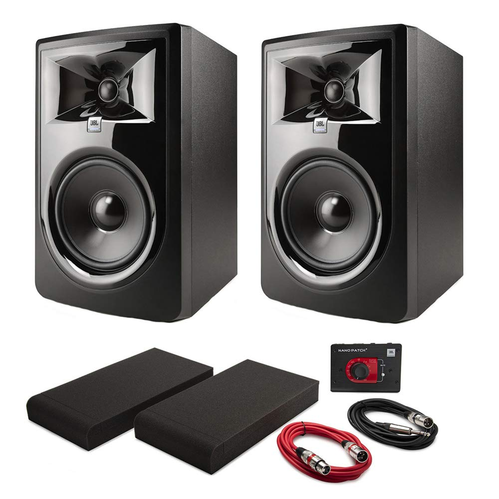 JBL 306PMKII Powered 6'' Two-Way Studio Monitors (Pair) with Nano Patch Controller, Isolation Pads and Cables