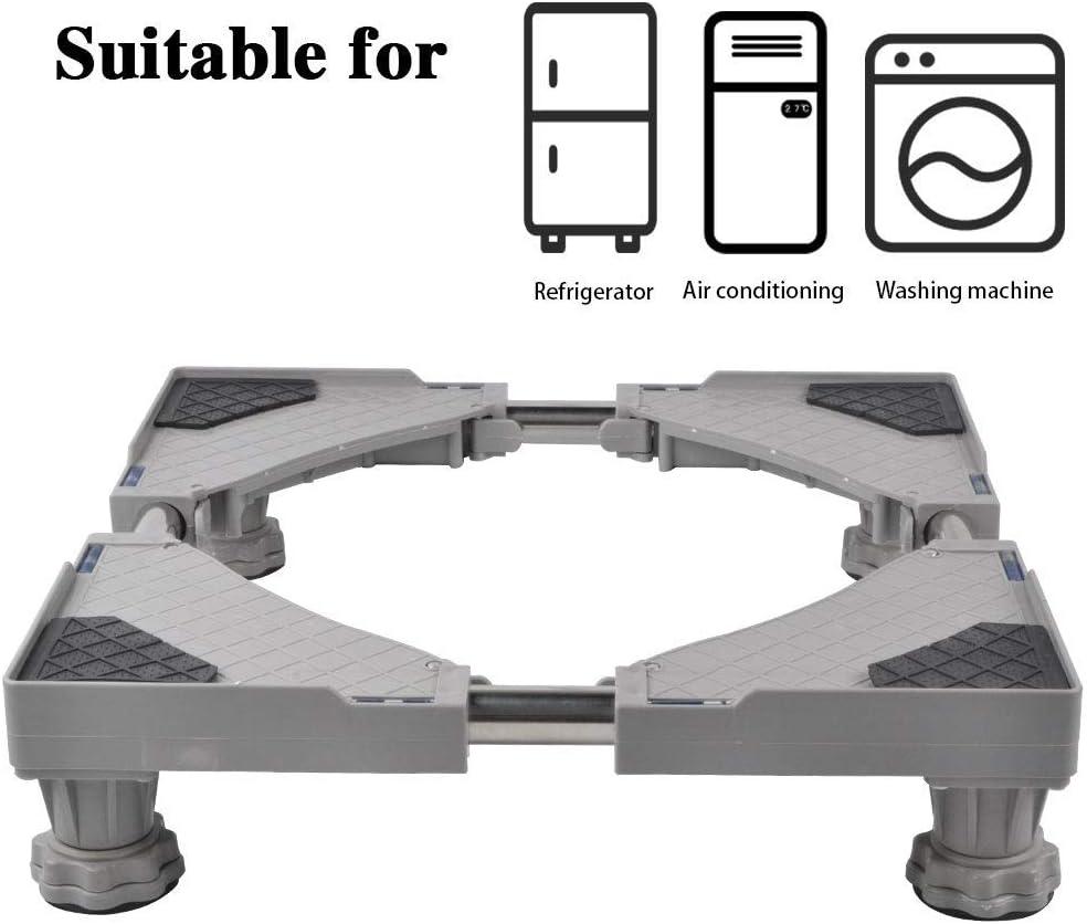 SMONTER - Soporte móvil universal ajustable para secadora, lavadora y refrigerador, 4 pies, gris
