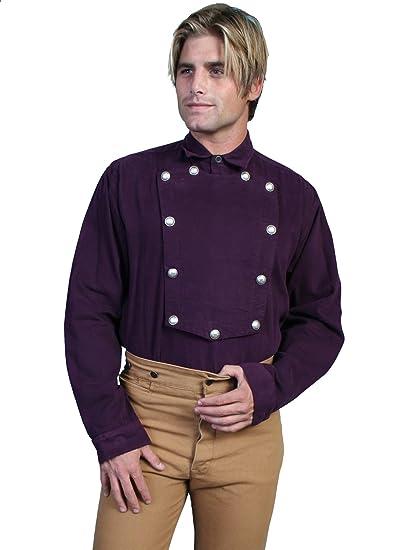 Victorian Men's Shirts- Wingtip, Gambler, Bib, Collarless Brushed Twill Bib Shirt  AT vintagedancer.com