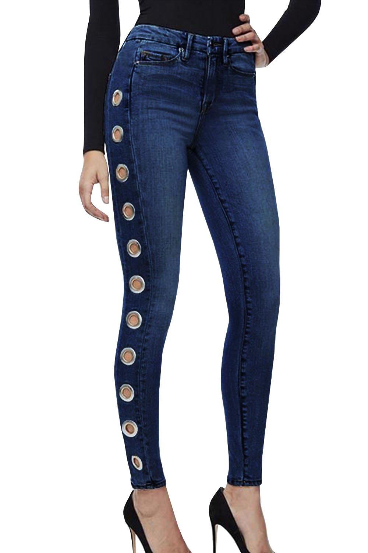 Ferbia Womens Skinny Jeans Stretchy Side Holes Butt Lifting High Waist Slim Fit Pencil Denim Pants