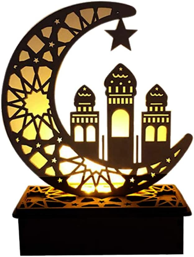 Eid Crafts Night Light Ramadan Mubarak Lamp Decorations Handmade 3D Wooden Moon Star LED Lights Decor Home Party Bedroom Eid Ornaments Gift for Muslims, Islamic Wall Table Decor - C