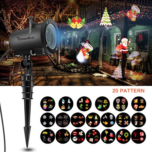 12W Led Holiday Projector Lights, AOZBZ 2018 Newest Version 20 Pattern Lens Switchable, Waterproof Landscape Garden LED Colorful Moving Snowflake with 32ft Power Cable for Halloween, Holiday Xmas -