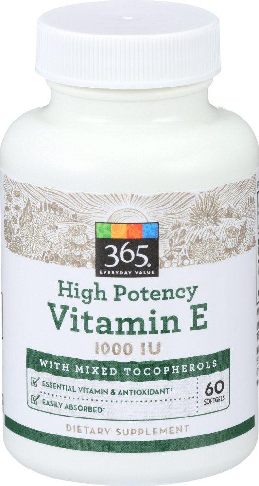365 Everyday Value, High Potency Vitamin E 1000 IU, 60 ct