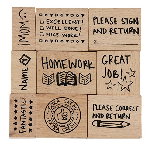 (Stamp Set for Teachers - 9-Piece Wood Mounted Rubber Stamps, Paper Grading Stamps for Teacher's Notes, Encouragement, Classroom Supply, School Supply)
