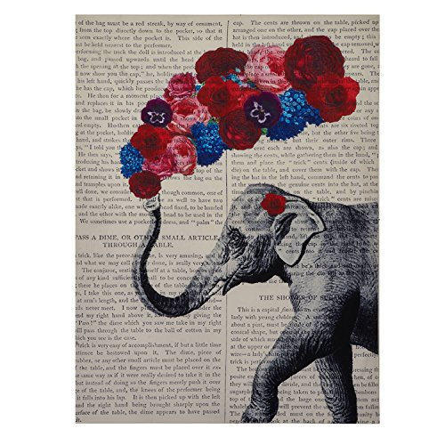 - Encoft Cute Elephant Tapestry Newspaper Background Elephant with Colorful Flowers Beautiful Wall Hanging Tapestries for Bedroom and Living Room (60