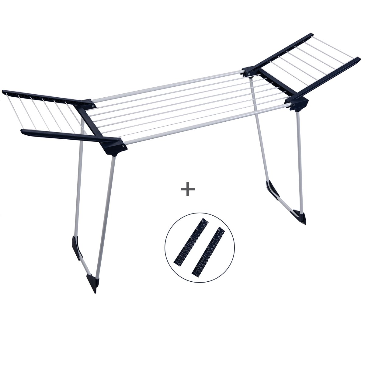 Drynatural Laundry Drying Rack Suitable for Bathtub, Foldable, Steel, Portable Clothes Drying Rack with Gullwing for Flat Drying