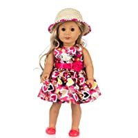 Prevently New Cute Doll Clothes Flower Dress Dress Hat For 18 Inch American Girl Doll Accessory (Hot Pink)