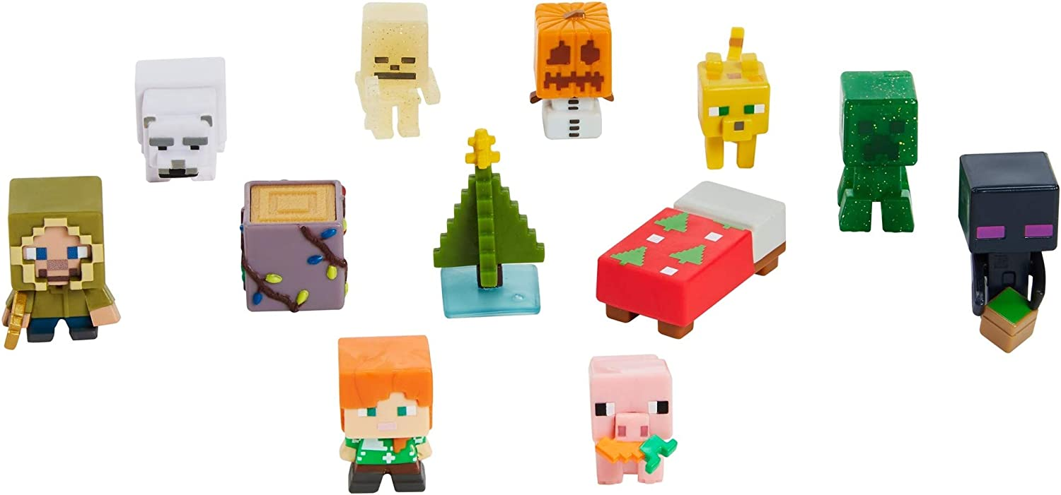 Minecraft Mini Figures 10 Advent Calendar, One A Day Storytelling Fun  with Minecraft Accessories and Stickers,, Family Christmas Activity,  Present