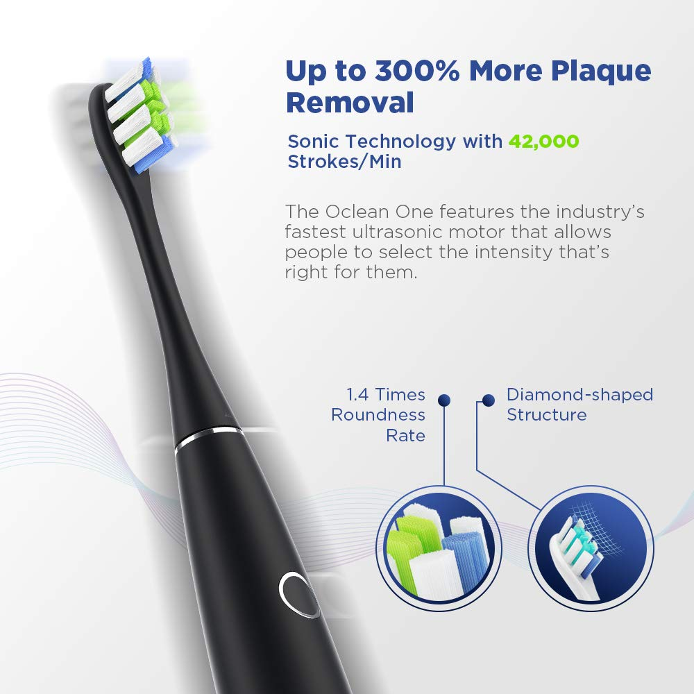 Oclean One Power Rechargeable Electric Sonic Waterproof Smart Toothbrush with Pressure Sensor, 3.5 Hours Quick Charing 60 Days Battery life, 3 Modes with 4 Intensities, Travel Case Included, Black