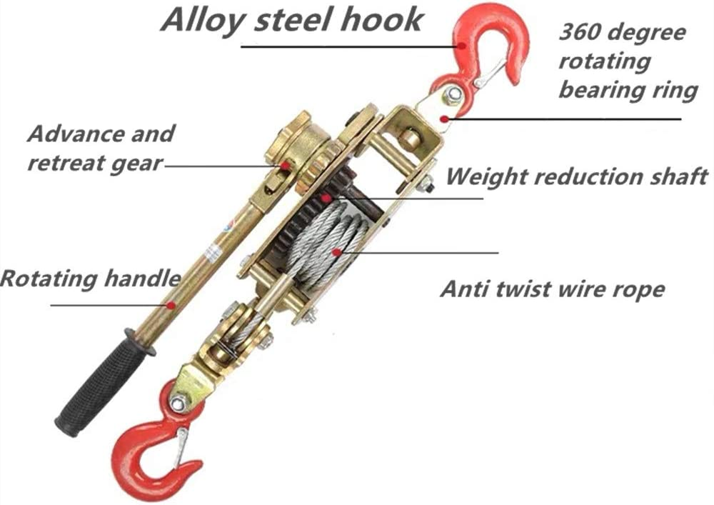 Multifunction Hand Power Puller Wired Rope Cable Puller Tighten Tool Steel Cable Gear Winch Ratchet Puller Lifting Tools 4Ton, 2 Hook Thicker, wire rope 5mmx1.3M