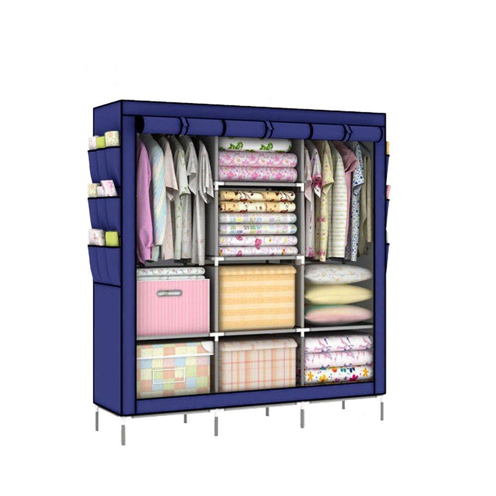 Portable Clothes Closet Wardrobe Storage Organizer Non-woven Navy blue Large Storage Space Cloakroom Canonon