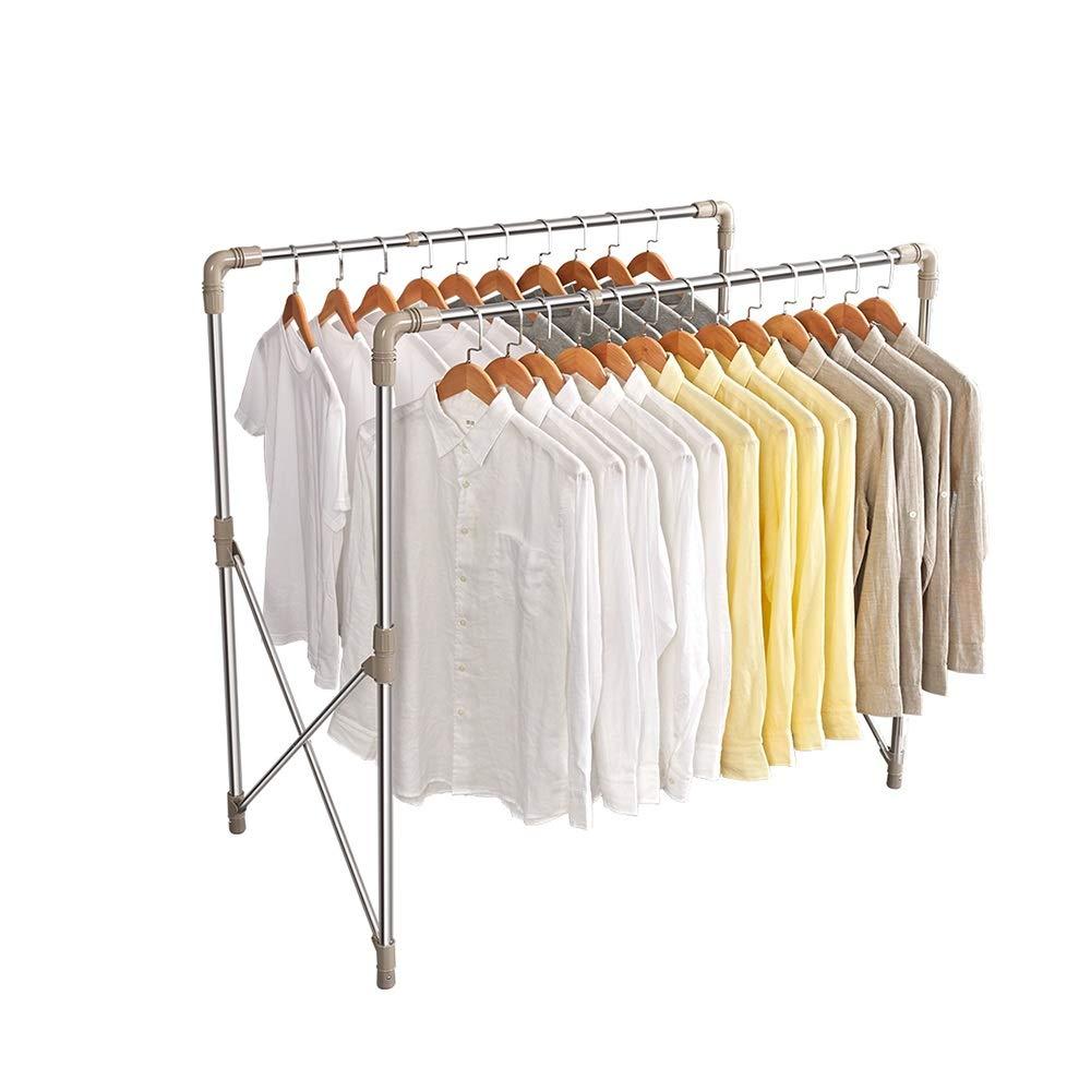 XSJZ 衣類ハンガー、乾燥キルト乾燥ラックに適したダブルロッド折りたたみステンレス鋼フロアリフティングハンガー 衣類ハンガー (色 : B) B07Q48ZXY5 B
