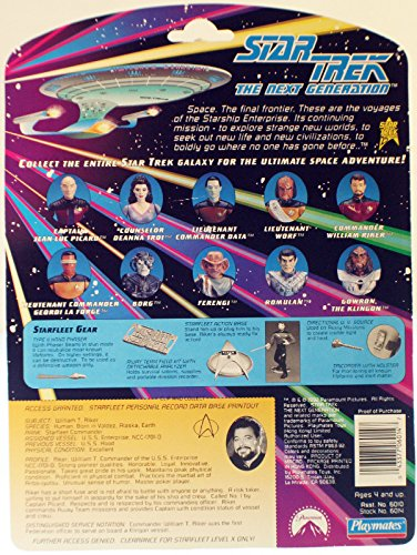 Qiyun Playmates Toys Star Trek The Next Generation TNG Commander William T Riker SIP 043377060147