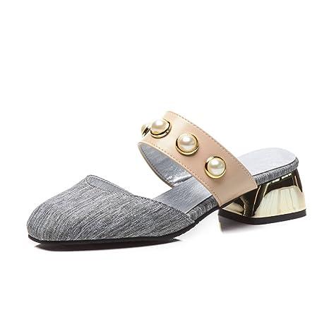 SHINIK Scarpe da donna Mezza pantofole Testa piatta con sandali e pantofole da donna Europe e America Rivet Sandals (Color : Rosa,…