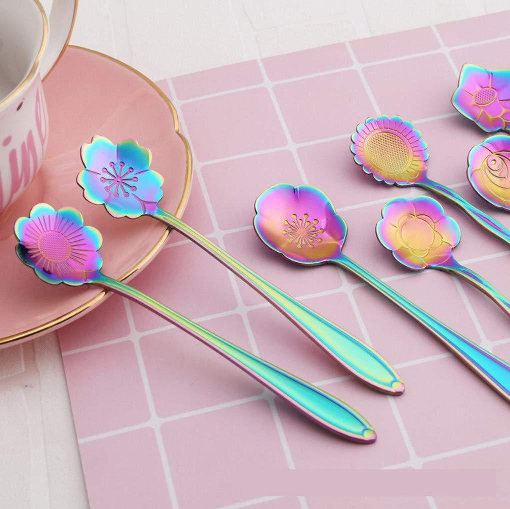 Te Caffe ACMEDE Set di 5 Cucchiaini in Acciaio Inox a Forma di Fiore Torta Cucchiaini Arcobaleno Ideali per Zucchero Gelato