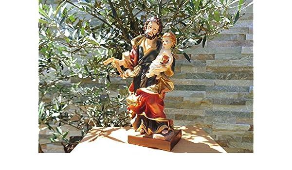 13 - 14 cm Ölbaum - PREMIUM - Decoración de y pesebre figura Santo José de Nazaret con zimmerer de ángulo, saca Vater de Jesús con niño de Nazaret, ...