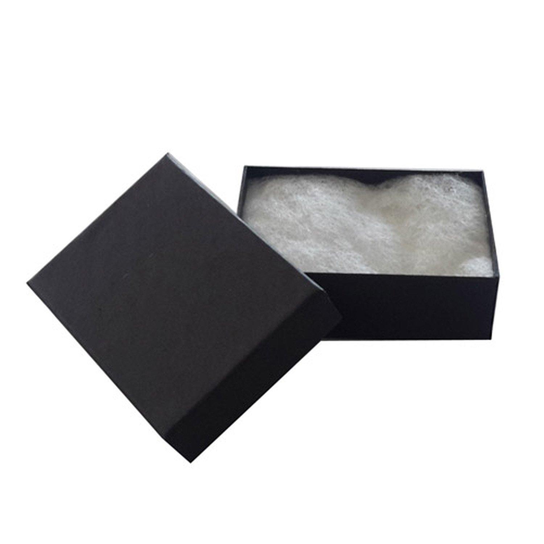 Lot of 100 pcs 3 1/4'' x 2 1/4'' x 1'' Matte Black Cotton Filled Jewelry Boxes