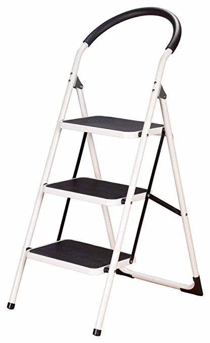 3 step ladder stool combo with handgrip anti slip folding step stool extra - Kitchen Step Ladder