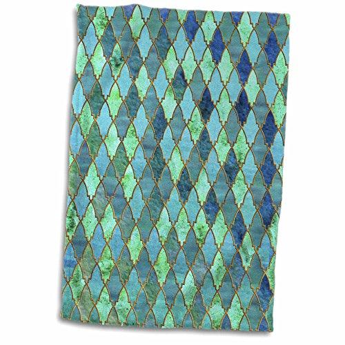 3dRose Luxury Trendy Gold Green Teal Moroccan Arabic Quatref