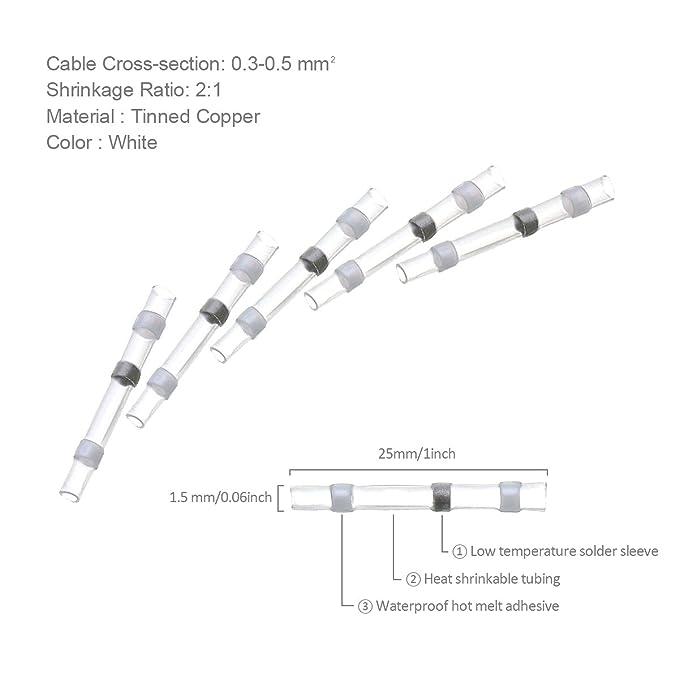 SOLOOP 50pcs L/ötverbinder Schrumpfverbinder Sto/ßverbinder Quetschverbinder Kabelverbinder
