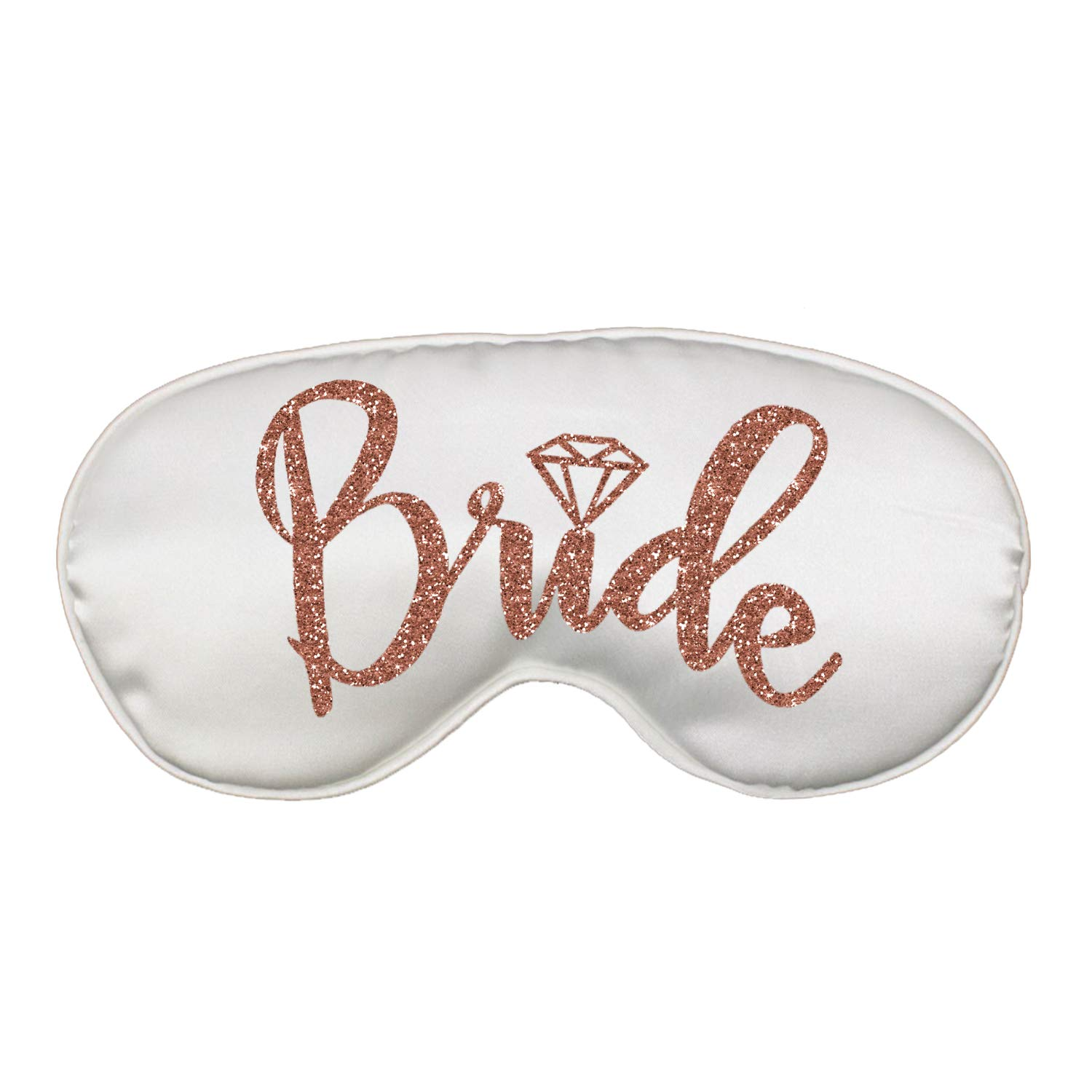 Rose Gold Bridal Party Favor Sleep Mask - Set of 3 - (1) Bride White, (2) Shhh! Bachelorette Party Recovery in Progress - Mask(RgBrd/2Shh) Wht by RhinestoneSash (Image #2)