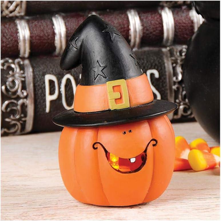 Blossom Bucket Halloween Decor - LED Lighted Pumpkin Jack O Lantern Figurine