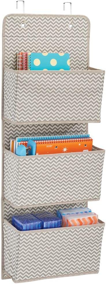 mDesign Soft Fabric Wall Mount/Over Door Hanging Storage Organizer - 3 Large Cascading Pockets - Holds Office Supplies, Planners, File Folders, Notebooks - Chevron Zig-Zag Print - Taupe/Natural