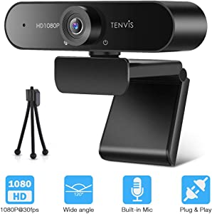 TENVIS 1080P Webcam with Microphone for Desktop Laptop, FHD 1080P@30fps Streaming Web Camera, USB Webcam with Tripod, 120° Wide Angle Lens, Plug&Play, Computer Camera for Video Conferencing, Recording