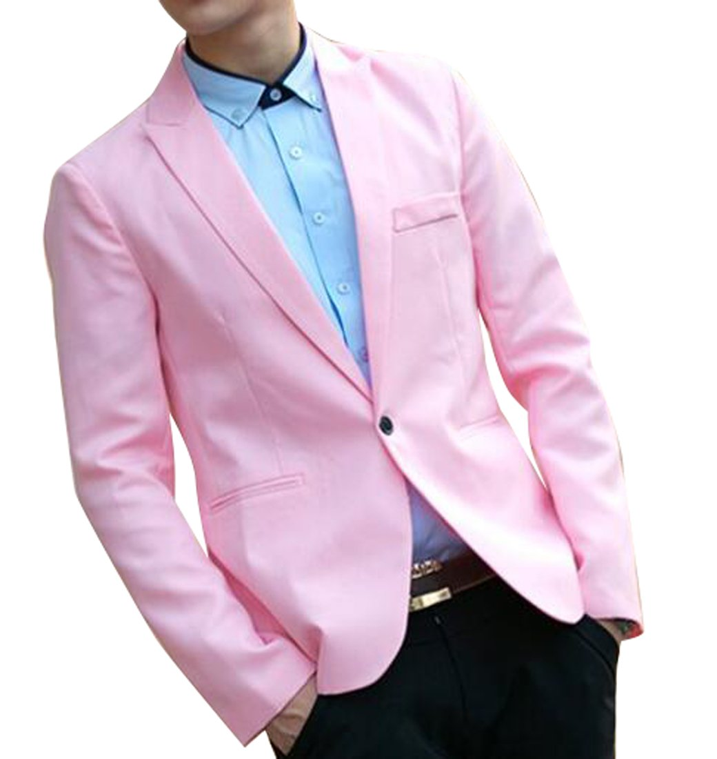 ARTFFEL Men Formal Slim Wedding Party Solid 1 Button Jeans Denim Pants S 1