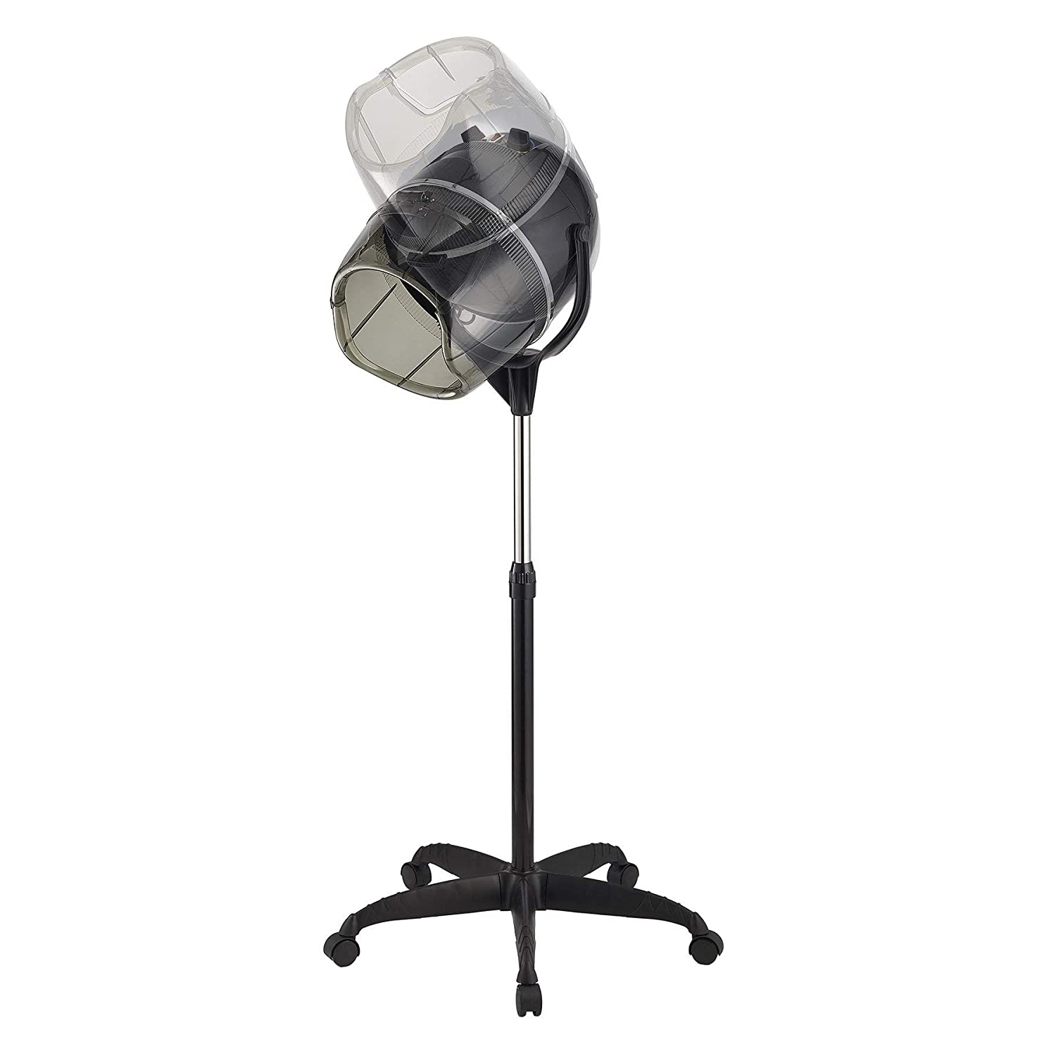 Professional Adjustable Hooded Stand-Up 110V Hair Bonnet Dryer with Timer Swivel Caster Rolling Base for Beauty Salon or Home Use