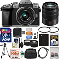 Panasonic Lumix DMC-G7 4K Wi-Fi Digital Camera & 14-42mm (Silver) with 45-150mm Lens + 32GB Card + Case + Battery + Tripod + Tele/Wide Lens Kit Overview Review Image